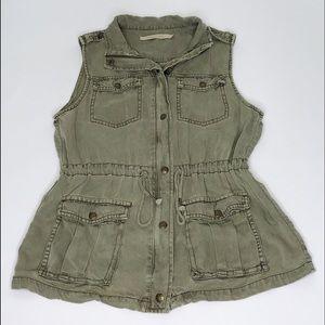Max Jeans Olive Sleeveless Zip Up Vest Size Medium